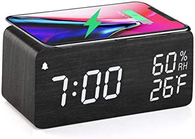 Wooden Digital Alarm Clock with Wireless Charging 3 Alarms LED Display Sound Control and Snooze product image