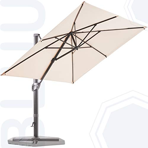 BLUU 10 FT Square Patio Umbrella Offset Cantilever Outdoor Umbrella Aluminum Market Hanging Umbrellas with 360° Rotation Device and Unlimited Tilting System & Cross Base (Beige)
