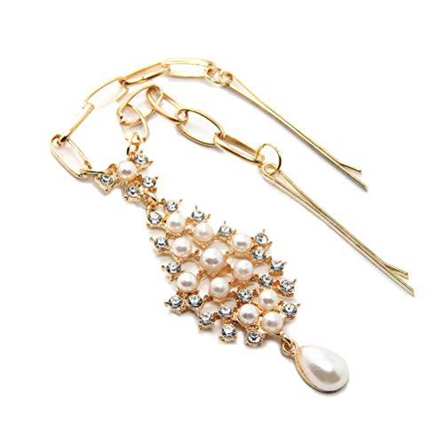 Lurrose Bijoux de tête de perle strass chaîne de tête de gland bohème indienne (Or)