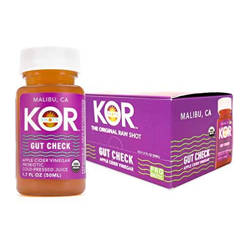 KOR Shots Apple Cider Vinegar Probiotics Shot - 12 Pack x 1.7 Fl Oz - Gut Check - Digestive Health - 1 Billion Cfu Probiotics - USDA Certified Organic