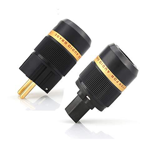 Viborg Enchufe de alta fidelidad chapado en oro de 24 quilates, enchufe europeo Schuko + dispositivo frío IEC HIFI DIY Socket Power Plug