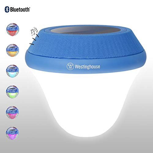 Westinghouse Solar Pool Light,Bluetooth 5W Speaker Solar Floating Lamp Underwater Multi-Color Change LED Lights for Swimming Pool,Pond,Tub or Party Decorations (1 Pack)