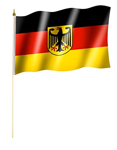 Stockflagge/Stockfahne DEUTSCHLAND mit Wappen/Bundesadler Flagge/Fahne ca. 30 x 45 cm mit ca. 60cm Stab/Stock