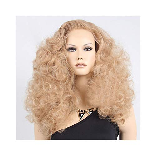 QYXJJ QLBF Periicken Haar-Perücken for Frauen Curly Lange Braun Rot Fluffy Explosion Head Damen Spitze-Front-Perücke (Color : Maroon)