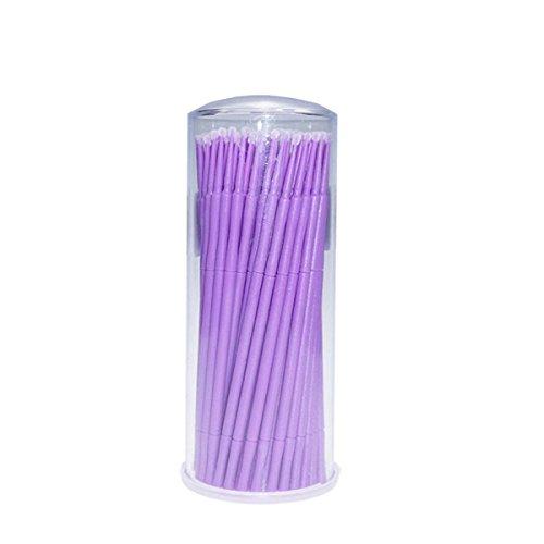 Healifty 100pcs brosse jetable micro applicateur jetable pour l'extension de cils (violet)