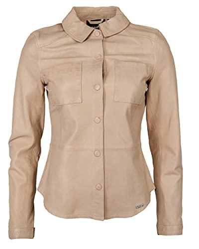 Maze Chaqueta de piel para mujer con cuello de camisa 42020134 arena XXXL
