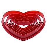 Cife 6 Unids/Set Molde De Pastel De Plástico En Forma De Corazón Cortador De Galletas Fondant Sello De Galleta Azúcar Artesanal Decoraciones para Pasteles Moldes Herramientas para Hornear