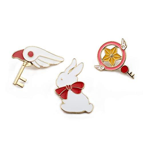 ZSCZQ Tarjeta mágica Chica Insignia de Anime Estrella Palo Cabeza de pájaro Conejo Uniforme broches Esmalte Collar Pin Mochila botón Icono joyería Conejo