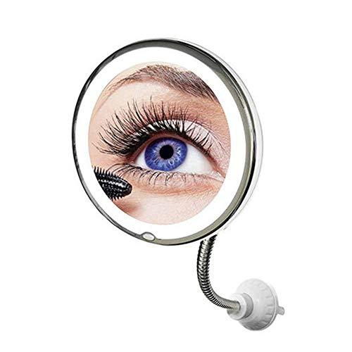 Espelho Luz Led 360 Flexível 10x Aumento Ventosa Maquiagem Barba Depilaçao