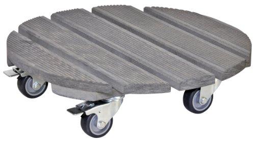 WAGNER Pflanzenroller - CREO - Buche geriffelt, FSC, grau, Durchmesser 38 x 10,2 cm, softe Rollen, 2 Feststeller, Tragkraft 200 kg - 20086301