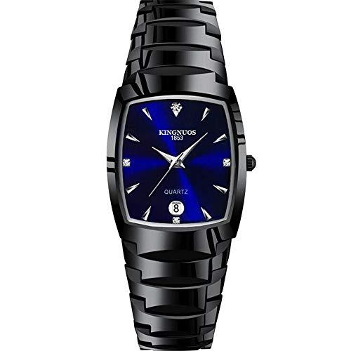 ZSDGY Fashion Tungsten Stahl-Quadrat-Uhr Stahlband-Uhr Luminous Herrenuhr E