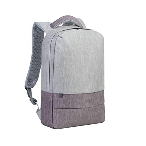 Rivacase Zaino per laptop con porta di ricarica USB, impermeabile di alta qualità, per notebook fino a 15,6 pollici, zaino da città, Business Backpack/7562 grigio/moka