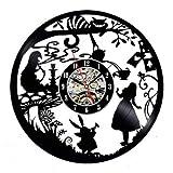 YHZSML Reloj de Pared de Disco de Vinilo diseño Moderno Pegatina de Dibujos Animados en 3D para niños Decorar habitación Reloj de Pared de Alicia en el país de Las Maravillas decoración del hogar