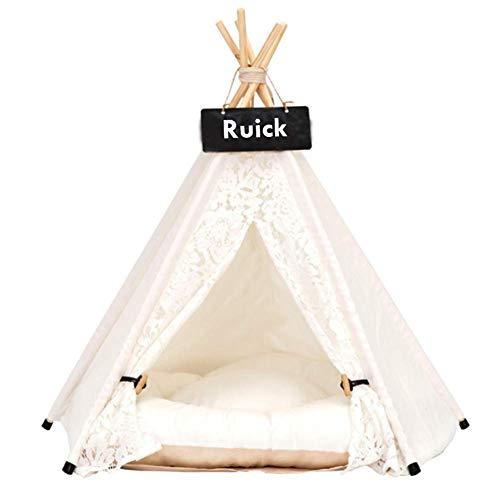 Ruick Hundebett Zelt Spitze, Haustierhütte, Tipi, Spielhaus für Hunde, Spielzelt für Katzen und Hunde, abnehmbar und waschbar