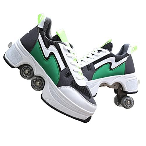 Doble Rodillo Zapatos De Skate Zapatos Invisible De Polea De Zapatos Zapatillas De Deporte Luz Zapatos Zapatos Multiusos, niños Zapatos con Ruedas Dynamic Green,42