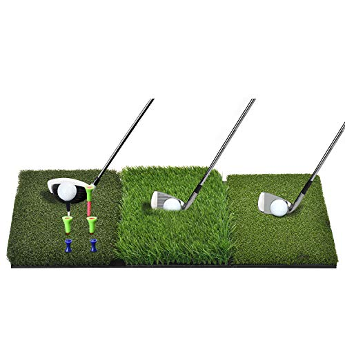 DURARANGE Golf Hitting Mat Mini, Turf Grass 3-in-1 Collapsible Chipping Mat with Tees, Launch Pad for Backyard, Practice Putting Green Training Aids, Indoor | Outdoor