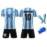 HQAZ Retro 1986 Argentinien-Fußballuniform, Maradona 10, Fußball-Hemd-Kits für Erwachsene Kinder, Memorial-Sammlung von Fußballtrikots 28