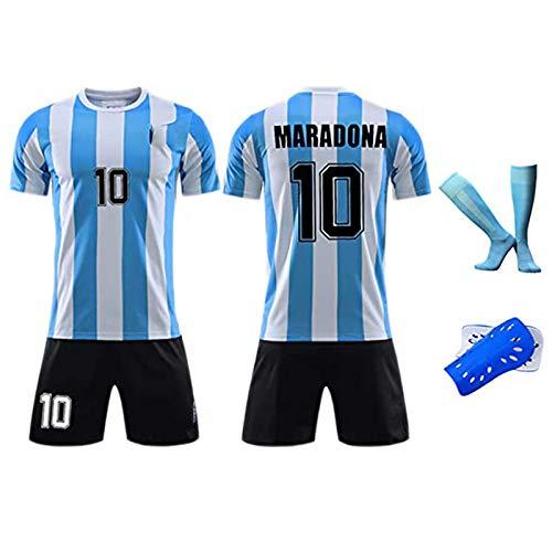 HQAZ Retro 1986 Argentinien-Fußballuniform, Maradona 10, Fußball-Hemd-Kits für Erwachsene Kinder, Memorial-Sammlung von Fußballtrikots 20