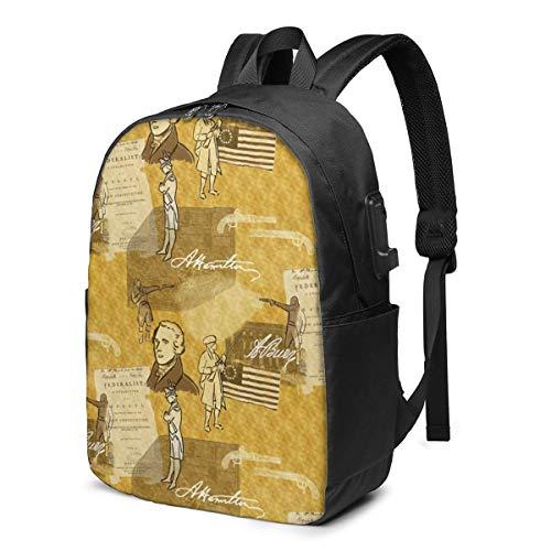 Alexander Hamilton School bag Mochila de viaje 17 pulgadas portátil bagGgDupp USB Mochila de 17 pulgadas