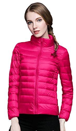 Damen Daunenjacken Winter Kaelteschutz Quilted Trenchcoat Pink L