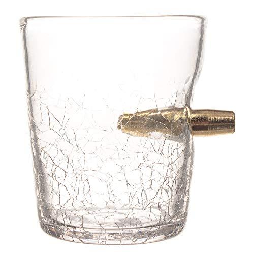 CKB Ltd Bicchierino da shot, in vetro, da 300 ml, design con pallottola, effetto vetro rotto