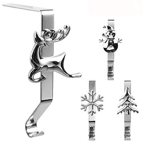 HelaJoy Weihnachtsstrumpfhalter - Verschiedene Muster Stocking Kleiderbügel Eisenstrumpf Halter Ständer für Mantel Weihnachtsstrümpfe 4er Set