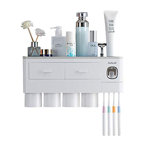 EMAPRUI Toothbrush Holder Multifunctional Wall Mounted Space Saving Toothbrush and Toothpaste Squeezer kit with dust Cover, 6 Toothbrush Slots, 1 Automatic Toothpaste Dispenser and 4 Cups (Gray)