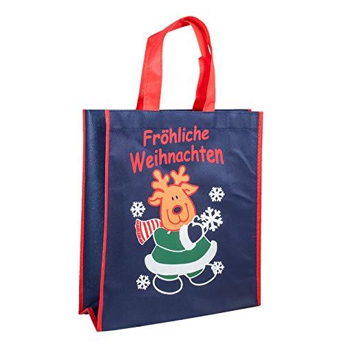 1x Einkaufstasche Design FRÖHLICHE Weihnachten | 28 x 32 + 10 cm | Polypropylen | PP-Non-Woven-Tasche | Vliestasche | Stofftasche | Tragetaschen | Tüten | Weihnachten | Geschenke