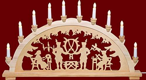 yanka-style XL Schwibbogen Lichterbogen Leuchter Bergleute ca. 72 cm breit traditionelles Motiv 10flammig Weihnachten Advent Geschenk Dekoration (83141-43)