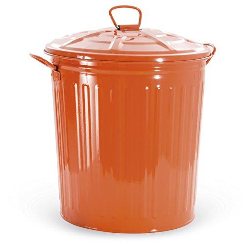 VERDELOOK Bidone per rifiuti con Coperchio, Arancione, capienza 35 Litri, Cestino pattumiera immondizia Spazzatura