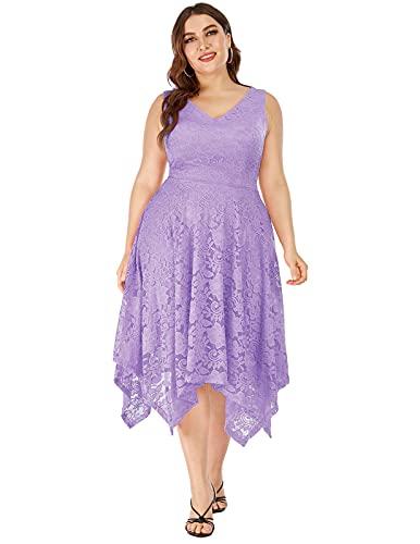 Women's Bridesmaid Dress Vintage Floral Lace Cocktail Formal Swing Dress Lavender L