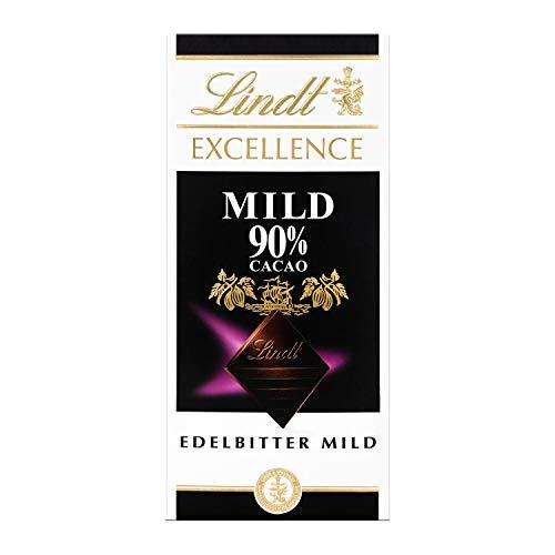 Lindt Excellence 90{1d1ff48528b6ad506b5894ccc802c32d88dfbd383d5f8e12795bef72cc32375a} Cacao milde Edelbitter-Schokolade (vegan, glutenfrei, laktosefrei) 5 x 100g