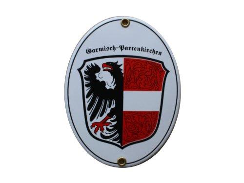 Garmisch Partenkirchen GAP Emaille Schild GAP 11,5 x 15 cm Emailschild Oval.