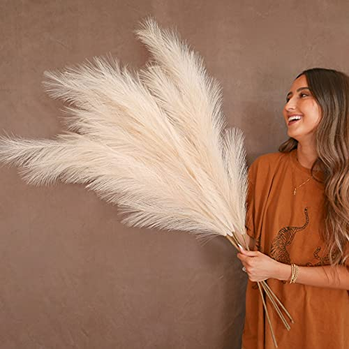 """31Mod Faux Pampas Grass with 4 Large Artificial Pampas Grass Stems — 43"""" (Set of 4), No-Shedding and Low Maintenance Pampas Grass Decor, Fake Pampas Grass, Pampas Grass Large, Boho Decor"""