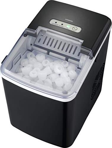 MELISSA 16620019 Eiswürfelmaschine, 9 Minuten Produktionszeit, 3 Eiswürfel-Größen, 1.85 Liter, LCD Display, Selbstreinigungsfunktion, Eiswürfelbereiter, Leiser Ice Maker ohne Wasseransc, schwarz