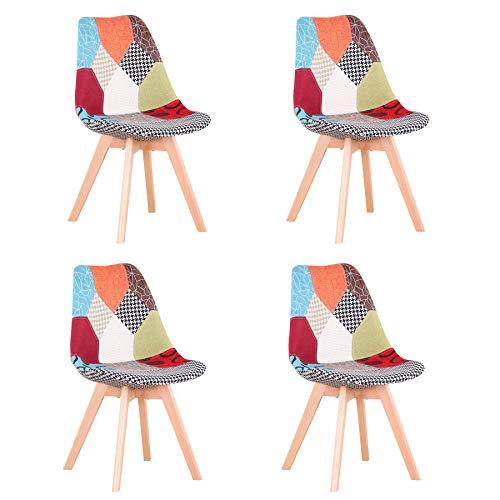 BenyLed Juego de 4 Sillas de Comedor con Diseño de Patchwork con Asiento Tapizado y Patas de Madera, Ideal para Comedor, Salón, Dormitorio, etc. Rojo
