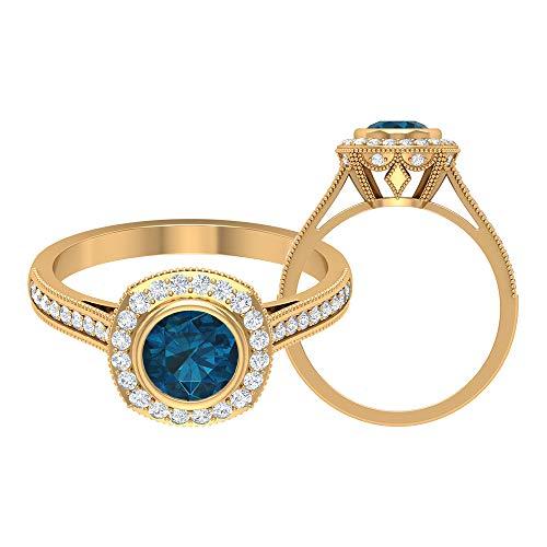Cathedral Halo Ring, 1,30 ct Runde Edelsteine, HI-SI Diamant 6 mm London Blautopas, Gold Halo Ring mit Seitensteinen, Solitär Verlobungsring, 14K Gelbes Gold, Size:EU 59