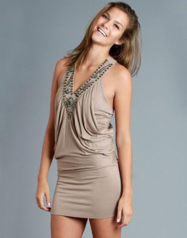 Nikibiki VNeck Tan Embellished Dress