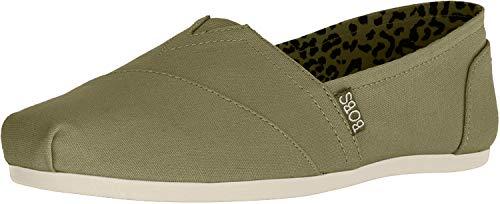 Skechers BOBS Women's Bobs Plush-Peace & Love Sneaker, Olive, 8 M US