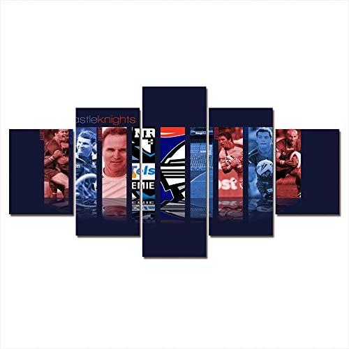 5 Piezas Lona Murales Cuadro Moderno Lienzo Deportes Fútbol Baloncesto Estrellaarte Pared Alta Definición Decorativa Home Dormitorio Óleo Lona Pintura Regalos(Enmarcado)
