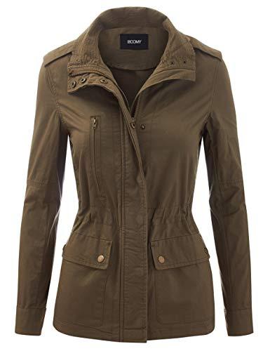 FASHION BOOMY Women's Zip Up Safari Military Anorak Jacket with Hood Drawstring - Regular and Plus Sizes 2X L-Olive