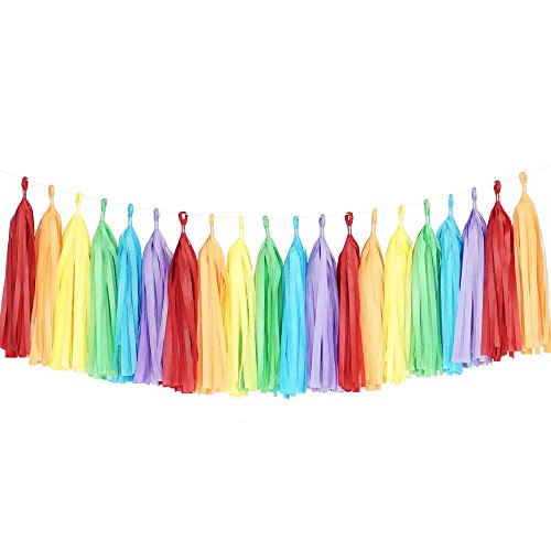 Tissue Paper Tassel DIY Party Garland Decor for All Events & Occasions - 20 Tassels Per Package (Rainbow)