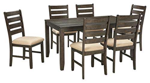 Signature Design by Ashley Rokane Dining Room Table and Chairs (Set of 7), Brown