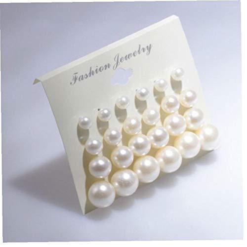 Hotaden 12pairs del Pendiente Perlas Pendientes Blanco Brillante Color Surtidos Tamaños imitación de la Perla Bola Redonda Exquisita Artificial (Blanco)