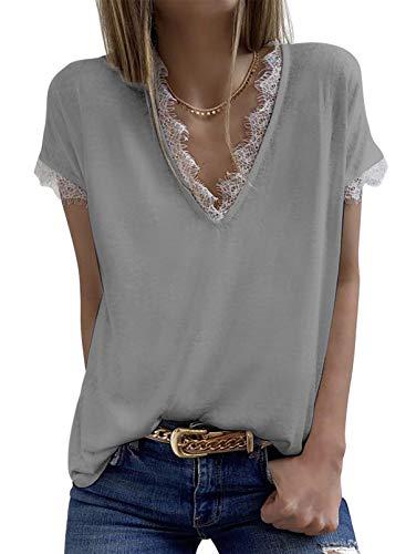 Elegancity Damen Bluse V Ausschnitt mit Spitzen Schick Kurzarmshirt Tunika Elegant Dame Oberteile Hemd Kurzarm Blusen Tops L, Grau