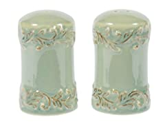Salt and pepper shaker set made of new bone china; very high quality stoneware; will not absorb odors or flavors Scratch resistant glazes provide durability; each shaker measures 2-inch diameter by 3-1/2-inch high Each piece has a unique embossed pat...