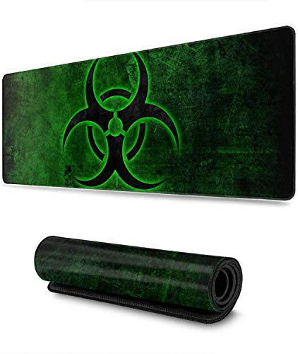 Biohazard Symbol Quarantine Theme Gaming Mouse Pad XL, Extended Large Mouse Mat Desk Pad, Stitched Edges Mousepad, Long Non-Slip Rubber Base Mice Pad, 31.5 X 11.8 Inch