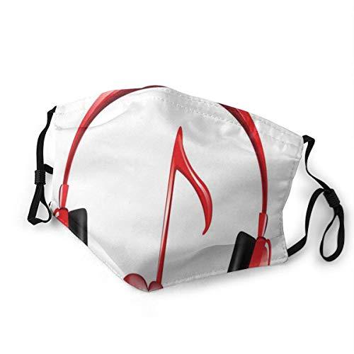 Dust-Proof Scarf,Love Sound Kopfhörer Mit Herzförmigem Key Note Symbol Melodie Künstlerisches Design Sicherheits-Mundhülsen Für Skifahren Camping,20x15cm