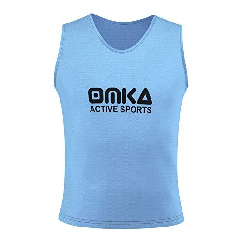 OMKA 10 Stück Fußball Leibchen Trainingsleibchen Markierungshemd Fußballleibchen für Kinder Jugend und Erwachsene, Farbe:Hellblau, Bibs:Senior (L)