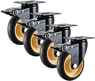 XINHU 4 Stks Castor Wheels Heavy Duty Rubberen Swivel Rem Wiel Meubel Trolley Vervanging Onderdelen (Color : C, Size : 4inch)